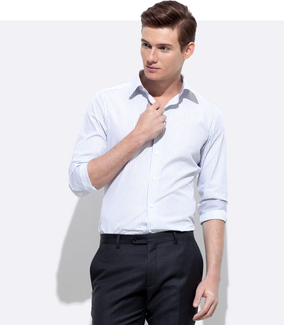 An INDOCHINO custom shirt with gray trim.