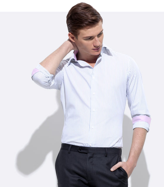 An INDOCHINO custom shirt with pink trim.