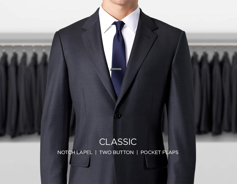 A classic suit with a notch lapel, two buttons and pocket flaps.