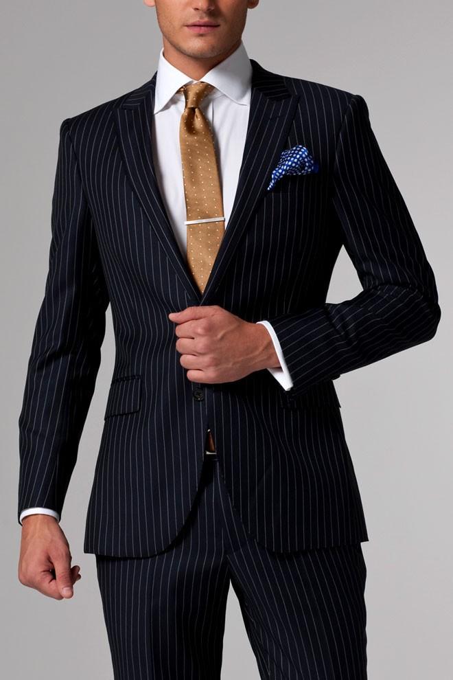 Vincero Navy Blue & White Pinstripe Suit