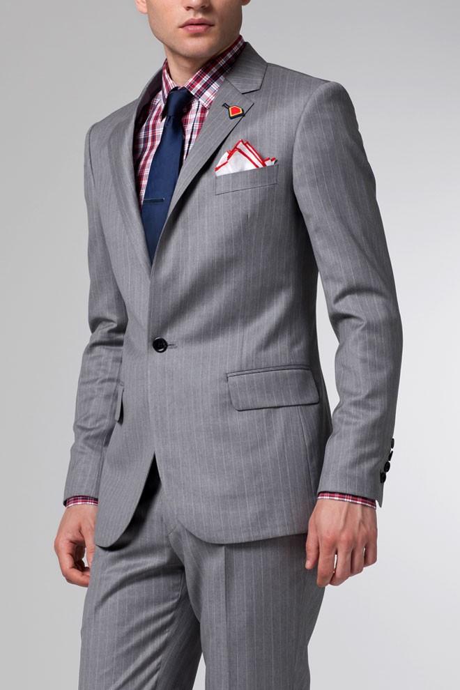 The Superhero Light Gray Pinstripe Suit