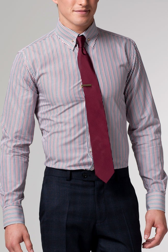 The Dapper Distributor Burgundy Striped Shirt