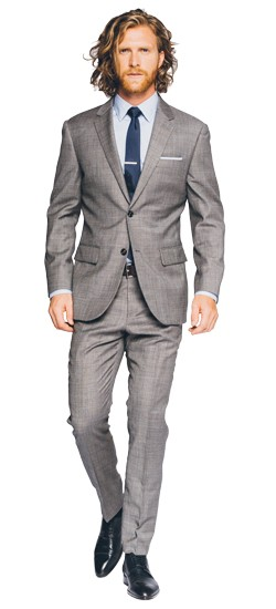 Premium Gray Sharkskin Suit