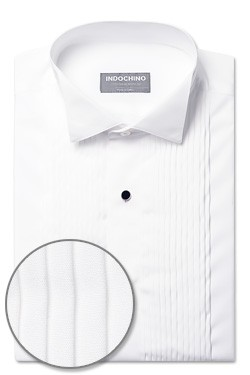 Premium White Pleated Square-Front Tuxedo Shirt