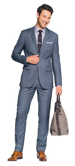 Blue Gray Birdseye Suit