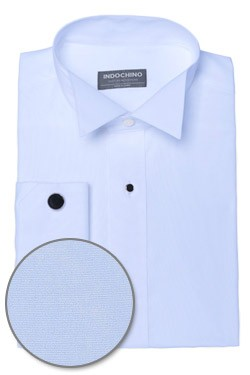 Light Blue Plain-Front Tuxedo Shirt