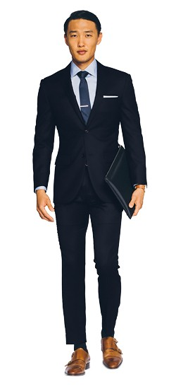 Deep Navy Blue Twill Suit