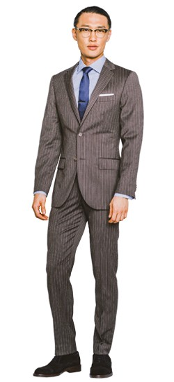 Brown Double Pinstripe Suit