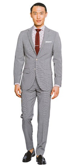 Black and White Micro Houndstooth Suit