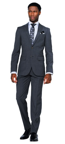 Mid-Gray Windowpane Suit