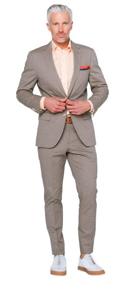 Tan Micro Houndstooth Cotton Suit