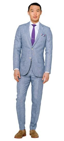 Light Blue Slub Twill Suit