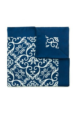 Blue Damask Silk Pocket Square
