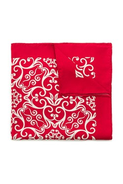 Red Damask Silk Pocket Square