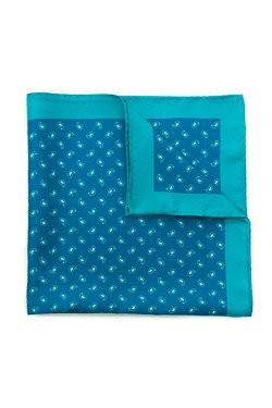 Aqua Micro Paisley Silk Pocket Square