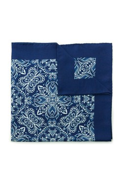 Blue Vintage Damask Silk Pocket Square