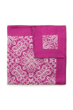 Pink Vintage Damask Silk Pocket Square