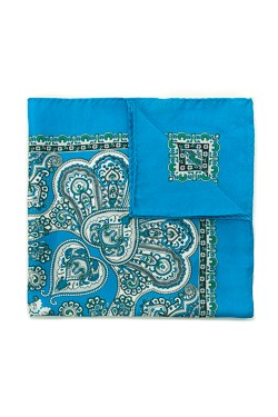 Bright Blue Bohemian Silk Pocket Square