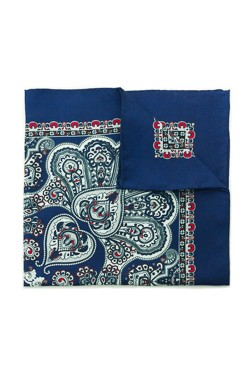 Blue Bohemian Silk Pocket Square
