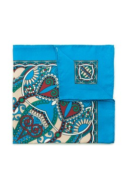 Bright Blue Art Deco Silk Pocket Square