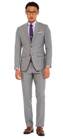 Premium Light Gray Sharkskin Suit