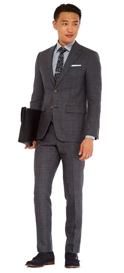 Charcoal Windowpane Birdseye Suit