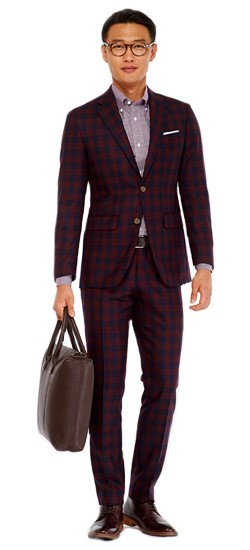 Burgundy Buffalo Check Suit