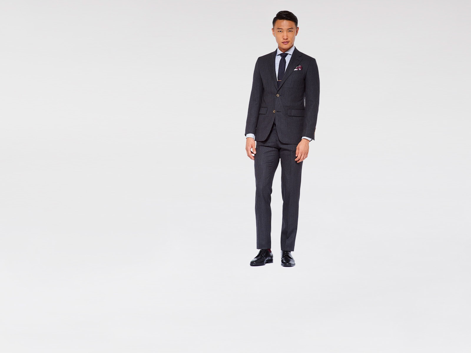 Dark Gray Rope Stripe Suit