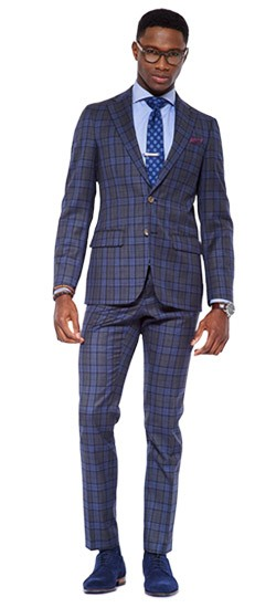 Cool Charcoal Plaid Suit
