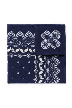 Navy Bandana Print Wool Pocket Square