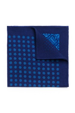 Blue Multi-Print Wool Pocket Square