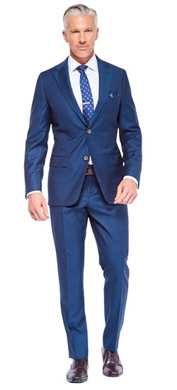 Teal Fineline Windowpane Suit