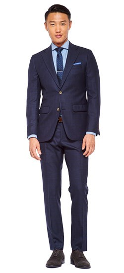 Midnight Blue Shadow Check Suit