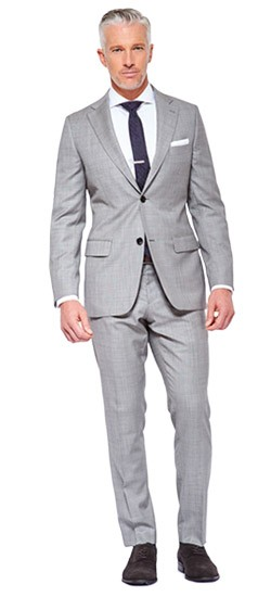 Premium Silver Gray Sharkskin Suit