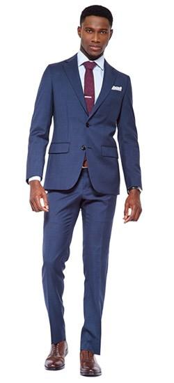 Classic Blue Sharkskin Suit
