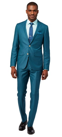 Men\'s Custom Suits - Bright Teal Wool Silk Suit | INDOCHINO