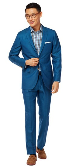 Bright Blue Wool Silk Suit