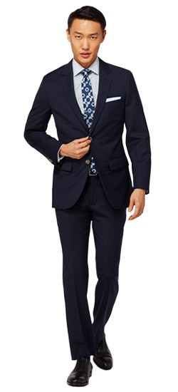 Navy with Burgundy Windowpane Suit