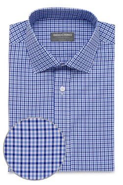 Light Blue and Navy Tattersall Check Shirt