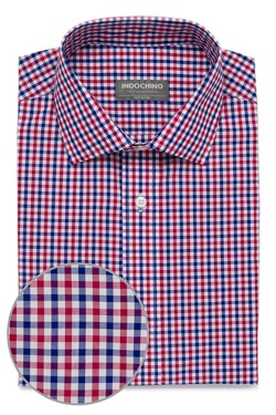 Navy and Red Tattersall Check Shirt