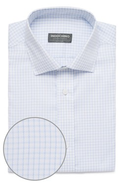 White and Blue Double Windowpane Shirt