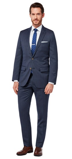 Navy Micro Dot Suit