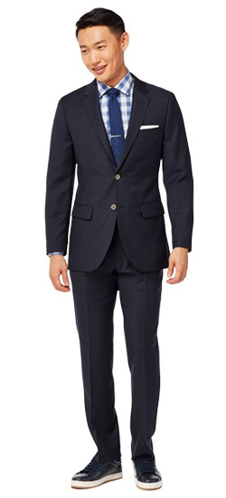 Navy Micro Pattern Suit
