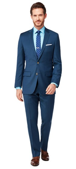 Teal Blue Check Suit
