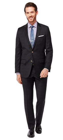 Black Tonal Check Twill Suit
