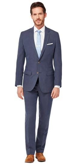 Navy Silk Linen Suit