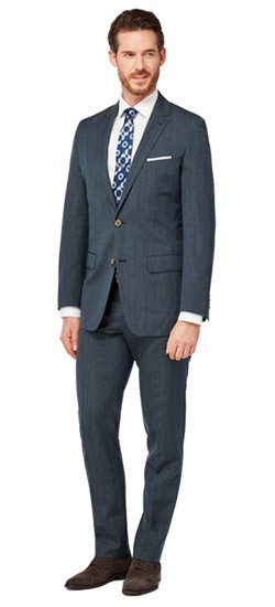 Navy Fineline Wool and Linen Suit