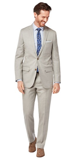 Silver Check Silk & Linen Suit