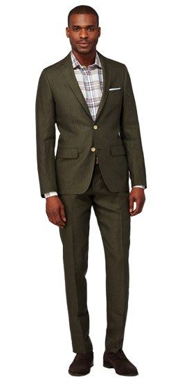 Olive Micro Check Linen Suit