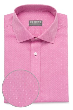 Pink Checker Twill Dobby Shirt